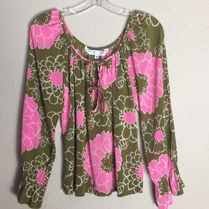 Trina Turk Silk Floral Flowy Pullover Blouse